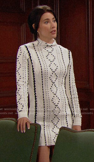 Steffy's cable knit sweater dress on The Bold and the Beautiful