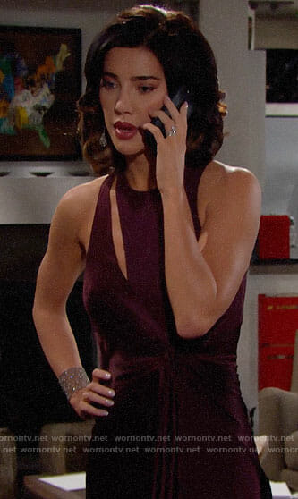 Steffy's purple knot front gown on The Bold and the Beautiful
