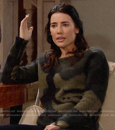 Steffy's camouflage sweater on The Bold and the Beautiful