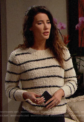 Steffy's striped textured sweater on The Bold and the Beautiful