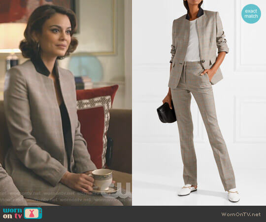 Fleur Princes of Wales Checked Wool Blazer and Jodi pant by Stella McCartney worn by Cristal Flores (Nathalie Kelley) on Dynasty