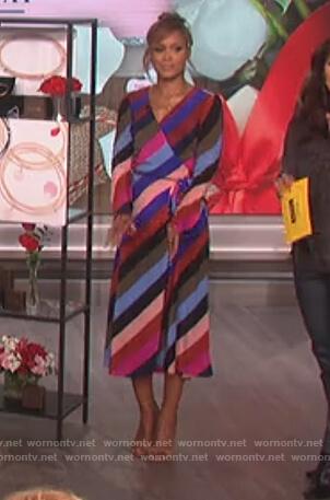 Eve's striped wrap dress on The Talk