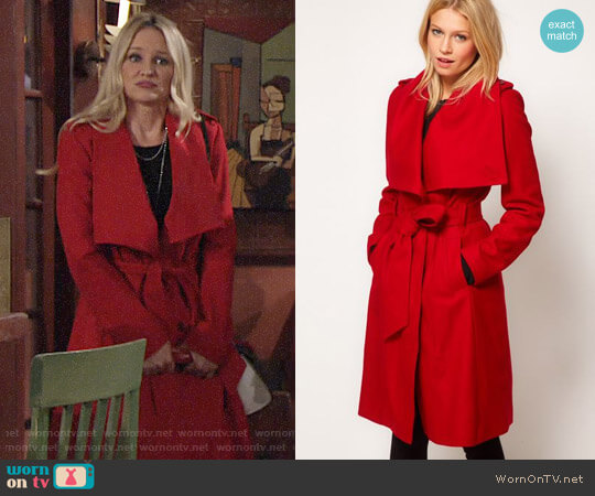 Ted Baker Belted Coat with Big Collar worn by Sharon Case on The Young & the Restless