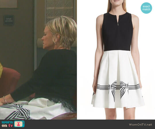 'Natalea' Bow Stripe Pleated Dress by Ted Baker worn by Mary Beth Evans on Days of our Lives