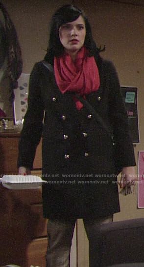 Tessa's black coat and plaid side-stripe pants on The Young and the Restless