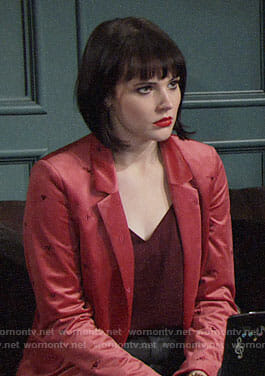 Tessa's pink blazer with embroidered hearts on The Young and the Restless