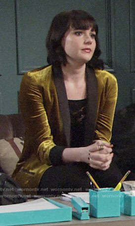Tessa's yellow velvet blazer and black mesh top on The Young and the Restless