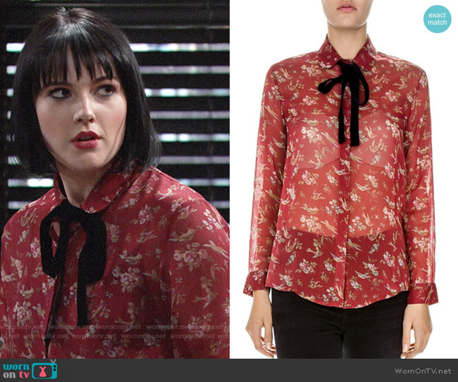 The Kooples Birds of Eden Tie-Neck Shirt worn by Tessa Porter (Cait Fairbanks) on The Young & the Restless