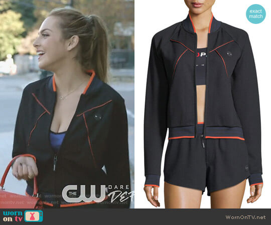 Midnight Drop Shot Bomber Jacket by The Upside worn by Fallon Carrington (Elizabeth Gillies) on Dynasty