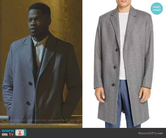 Bower Wool Herringbone Overcoat by Theory worn by Jeff Colby (Sam Adegoke) on Dynasty