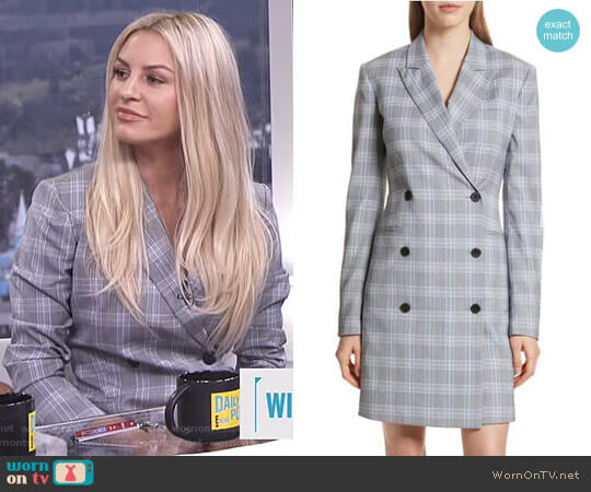 Check Plaid Blazer Dress by Theory worn by Morgan Stewart on E! News
