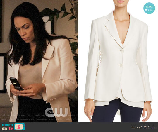 Theory Admiral Lace-Up Crepe Jacket worn by Rosario Dawson on Jane the Virgin