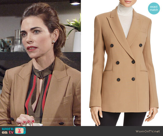 Theory Graham Power Blazer worn by Victoria Newman (Amelia Heinle) on The Young & the Restless