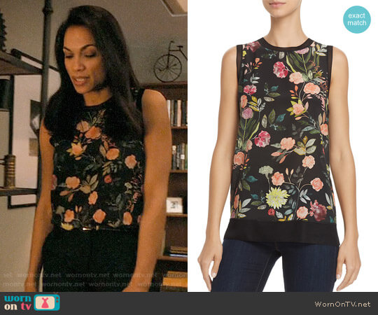 Theory Floral Lewie Top worn by Rosario Dawson on Jane the Virgin