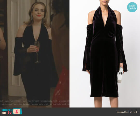 Cold-Shoulder Velvet Dress by Tom Ford worn by Elizabeth Gillies on Dynasty