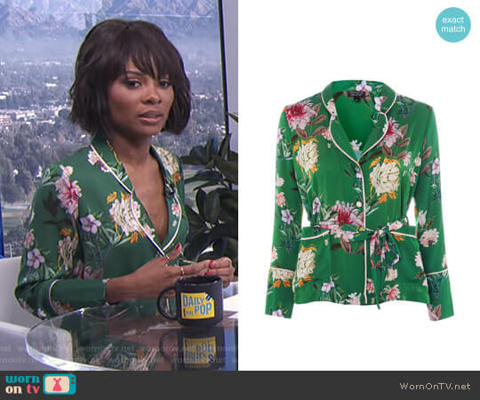 Floral Satin Pyjama Shirt by Topshop worn by Zuri Hall on E! News