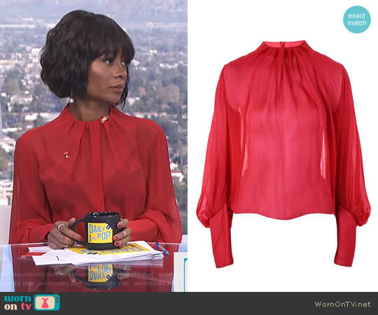 Pleat Neck Blouse by Topshop worn by Zuri Hall on E! News