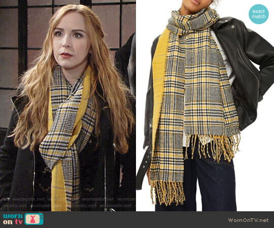 Topshop Double Face Plaid Scarf worn by Mariah Copeland (Camryn Grimes) on The Young & the Restless