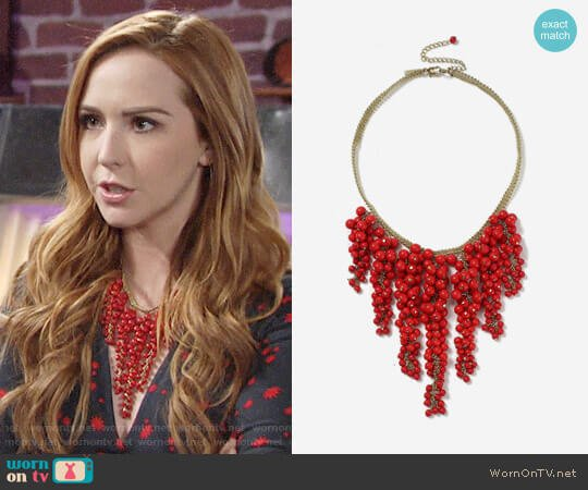 Topshop Red Berry Collar Necklace worn by Camryn Grimes on The Young & the Restless