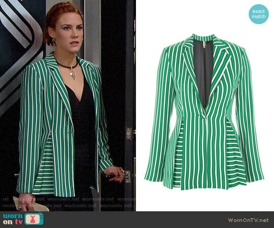 Topshop Striped Suit Jacket worn by Courtney Hope on The Bold & the Beautiful