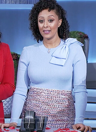 Tamera's blue ribbed bow sweater and tweed skirt on The Real