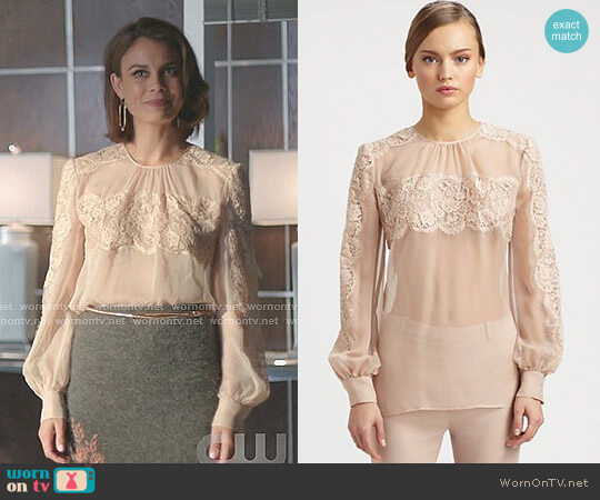 Lace On Silk Chiffon Shirt by Valentino worn by Cristal Flores (Nathalie Kelley) on Dynasty