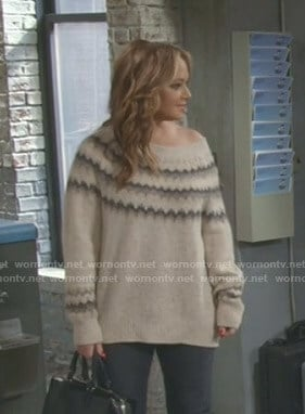 Vanessa's beige chevron sweater on Kevin Can Wait