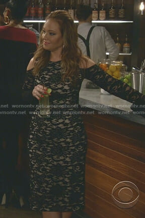 Vanessa's black cold-shoulder lace dress on Kevin Can Wait