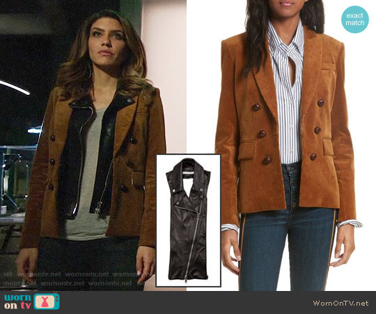 Veronica Beard Cliff Corduroy Cutaway Jacket worn by Dinah Drake (Juliana Harkavy) on Arrow