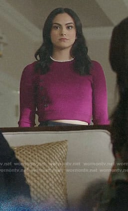 Veronica's magenta asymmetric buttoned sweater on Riverdale