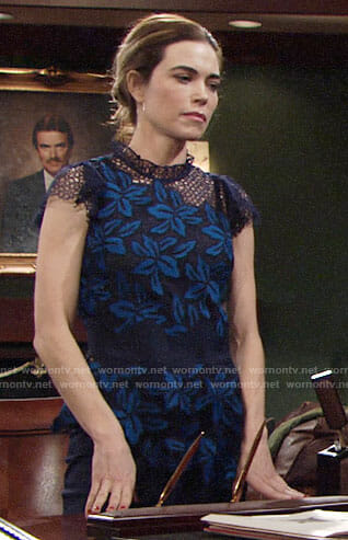Victoria's blue lace top on The Young and the Restless