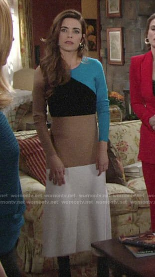 Victoria's colorblock midi sweater dress on The Young and the Restless