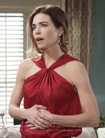 Victoria's red twist neck top on The Young and the Restless