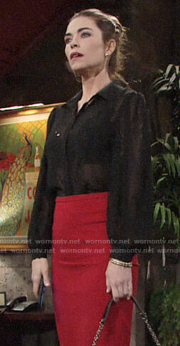 Victoria's black eyelet shirt on The Young and the Restless