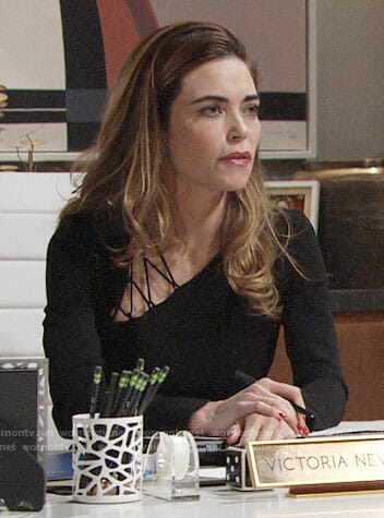 Victoria's black dress with lace up shoulder on The Young and the Restless