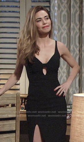 Victoria's black plunging cutout dress on The Young and the Restless