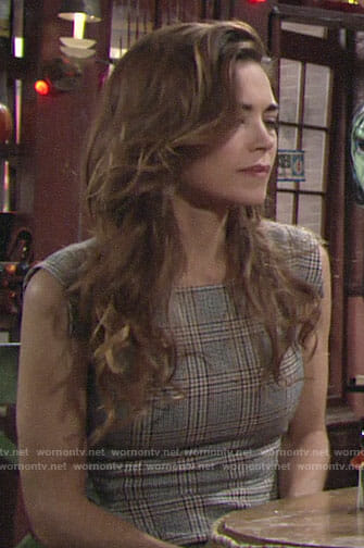 Victoria's plaid sheath dress on The Young and the Restless