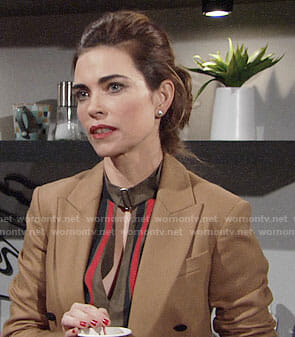 Victoria's striped blouse and camel blazer on The Young and the Restless