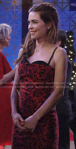 Victoria's rose print Valentines Day dress on The Young and the Restless
