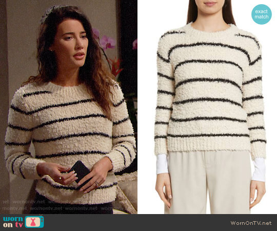 Vince Fuzzy Stripe Sweater worn by Jacqueline MacInnes Wood on The Bold & the Beautiful
