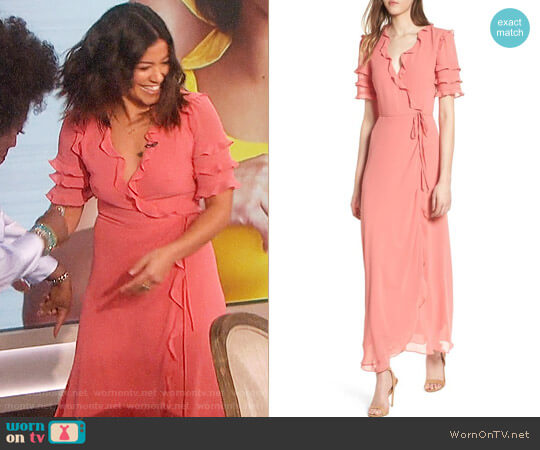 Wayf Ruffle Wrap Gown worn by Gina Rodriguez on The Talk