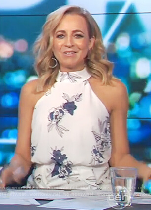 Carrie's white floral print sleeveless dress on The Project