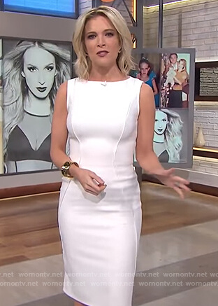 Megyn's white sleeveless sheath dress on Megyn Kelly Today