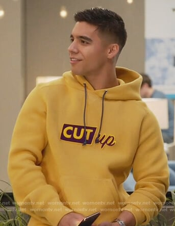 Vivek's yellow cut-up hoodie on Grown-ish