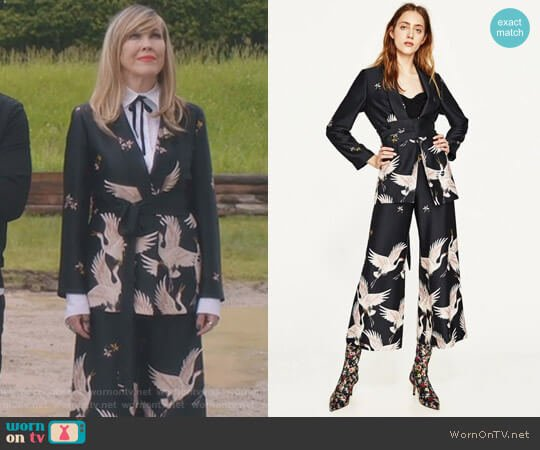 Printed Jacket with Sash Belt and Culottes by Zara worn by Moira Rose (Catherine O'Hara) on Schitts Creek