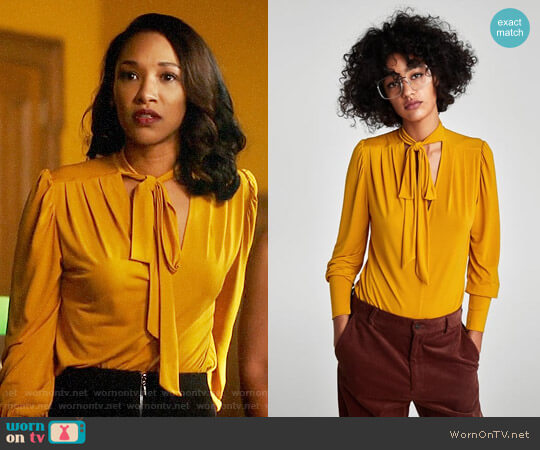 Zara Blouse with Bow Collar worn by Iris West (Candice Patton) on The Flash