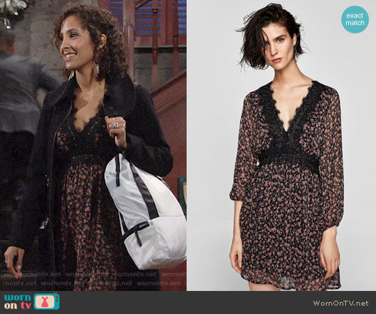 Zara Contrast Lace Dress worn by Christel Khalil on The Young & the Restless