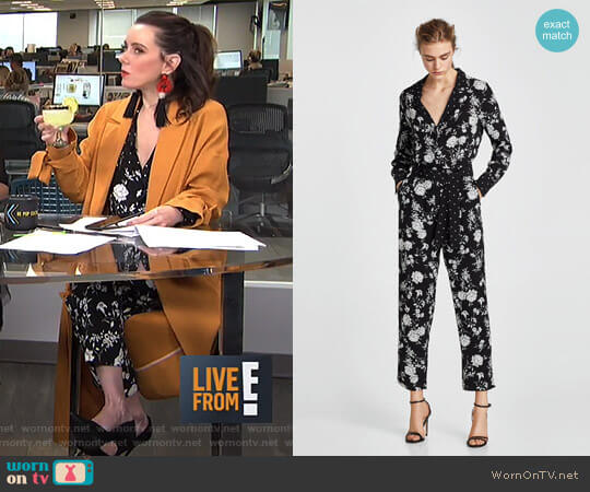 Floral Print Jumpsuit by Zara worn by Melanie Bromley on E! News