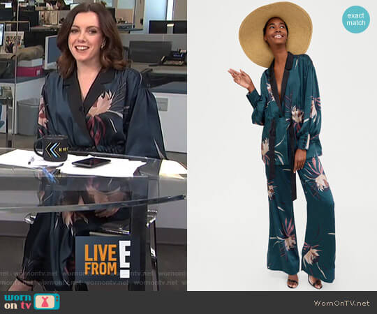 Print Jacket and Floral Print Trousers by Zara worn by Melanie Bromley (Melanie Bromley) on E! News