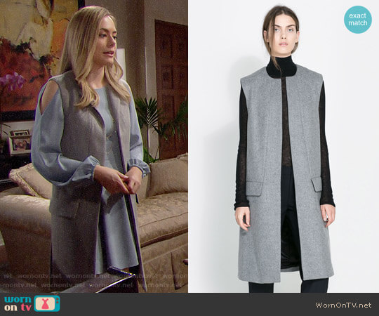 Zara Studio Long Vest worn by Hope Logan (Annika Noelle) on The Bold & the Beautiful